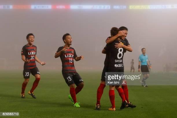 Shoma Doi of Kashima Antlers celebrates scoring the opening goal with his team mates during the JLeague J1 match between Kashima Antlers and Vegalta...