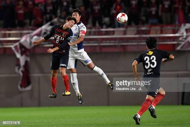 Shoma Doi of Kashima Antlers jumps for the header during the JLeague J1 match between Kashima Antlers and Gamba Osaka at Kashima Soccer Stadium on...