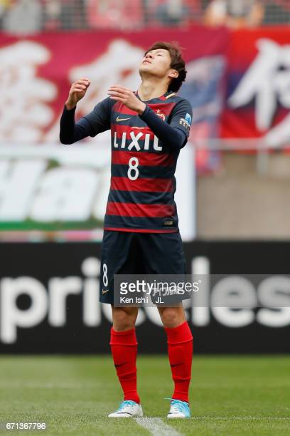 Shoma Doi of Kashima Antlers reacts after missing a chance during the JLeague J1 match between Kashima Antlers and Jubilo Iwata at Kashima Soccer...