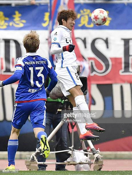 Shoma Doi opens the scoring with a header in the first half of Kashima Antlers' 20 win over Yokohama F Marinos in a semifinal of the Emperor's Cup at...