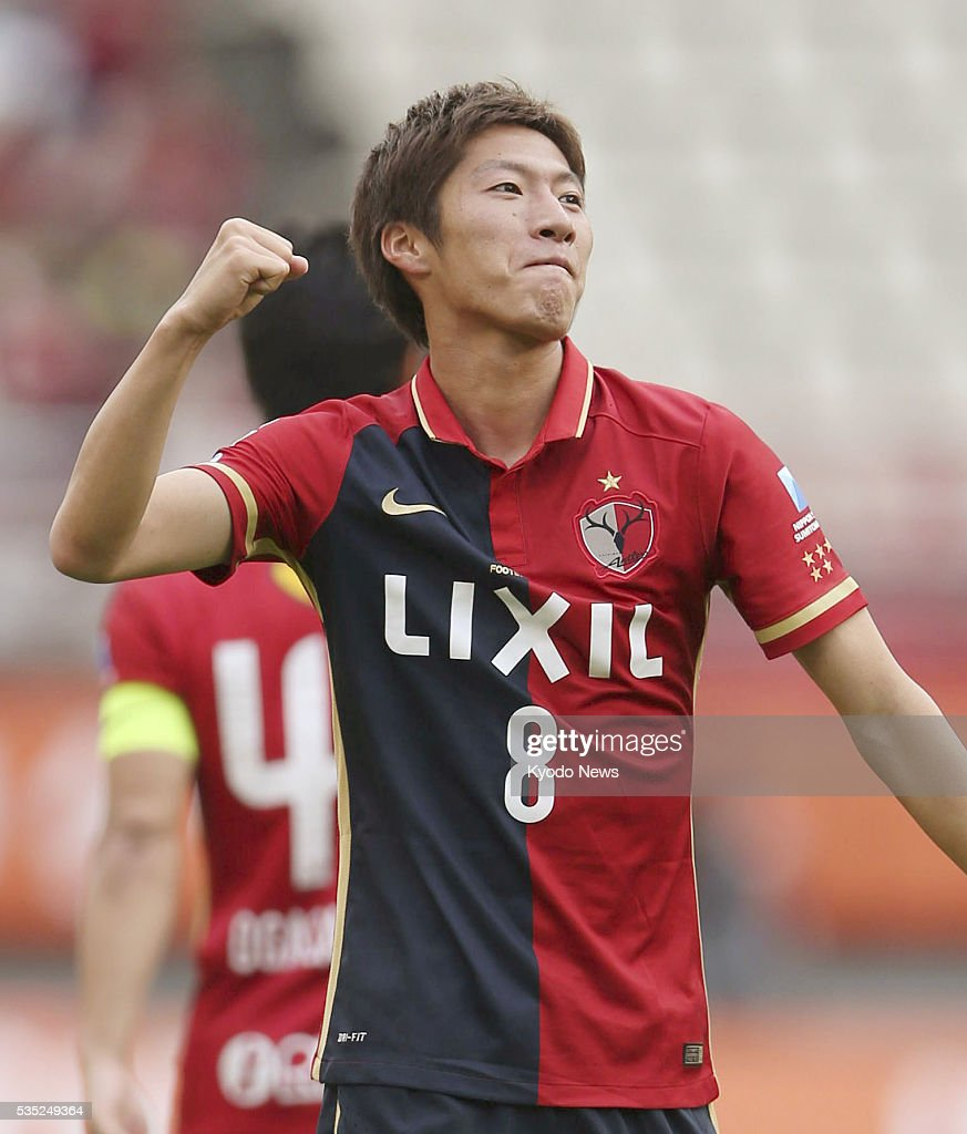 Shoma Doi pumps his fist after scoring his second goal of the match in Kashima Antlers' 4-0 win at home to Ventforet Kofu on May 29, 2016. Kashima kept themselves in the thick of the J-League first-stage title race.