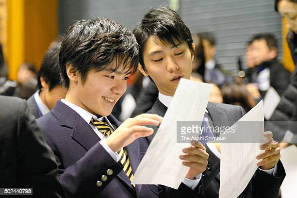 Shoma Uno and Yuzuru Hanyu attend the opening ceremony ahead of the 2015 Japan Figure Skating Championships at the Makomanai Ice Arena on December 24...