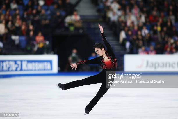Shoma Uno of Japan competes in the Men's Free Skating during day four of the World Figure Skating Championships at Hartwall Arena on April 1 2017 in...