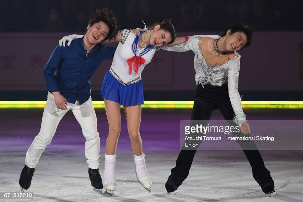 Shoma Uno of Japan Evgenia Medvedeva of Russia and Yuzuru Hanyu of Japan perform in the gala exhibition during the day 4 of the ISU World Team Trophy...