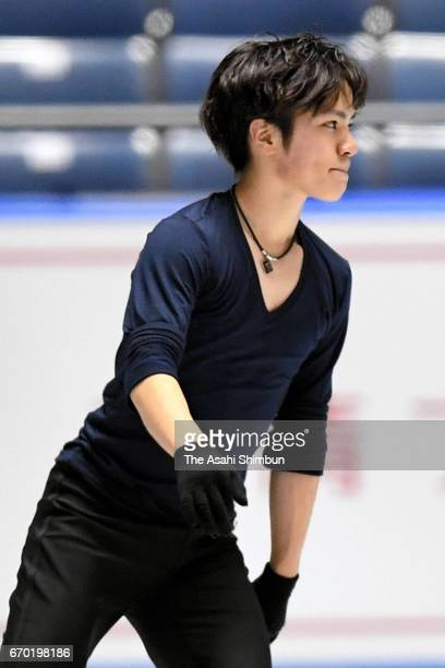 Shoma Uno of Japan in action during a practice session ahead of the ISU Team Trophy at Yoyogi National Gymnasium on April 19 2017 in Tokyo Japan