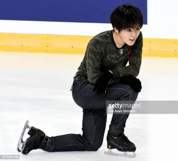 Shoma Uno of Japan in action during a training session ahead of the ISU Grand Prix of Figure Skating Internationaux de France at Patinoire Polesud on...