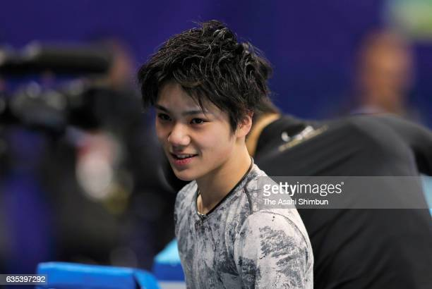Shoma Uno of Japan is seen during a practice session ahead of the ISU Four Continents Figure Skating Championships at Gangneung Ice Arena on February...