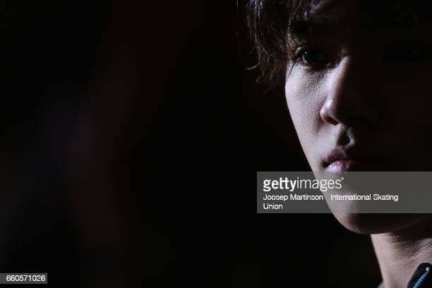 Shoma Uno of Japan looks on in the Men's Short Program press conference during day two of the World Figure Skating Championships at Hartwall Arena on...