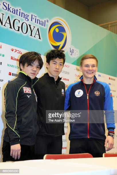 Shoma Uno of Japan Nathan Chen of United States and Mikhail Kolyada of Russia pose for photographs during a press conference during day one of the...