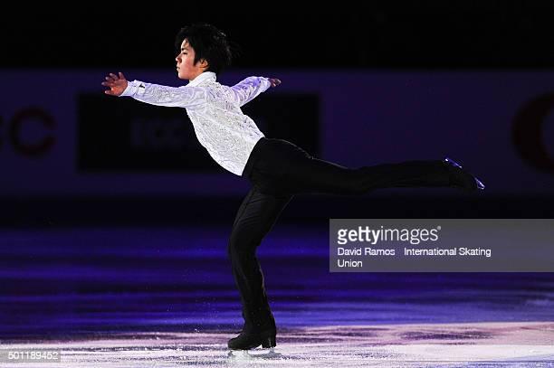 Shoma Uno of Japan performs at an exhibiton gala on day 4 of the ISU Junior Senior Grand Prix of Figure Skating Final 2015/2016 at the Barcelona...