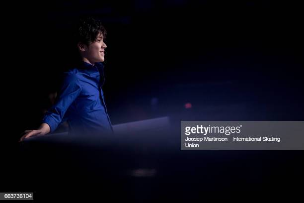 Shoma Uno of Japan performs in the gala exhibition during day five of the World Figure Skating Championships at Hartwall Arena on April 2 2017 in...