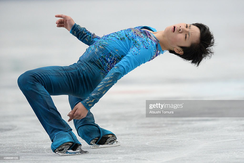 Shoma Uno of Japan performs in the men's free skating during All Japan Figure Skating Championships at Saitama Super Arena on December 22, 2013 in Saitama, Japan.