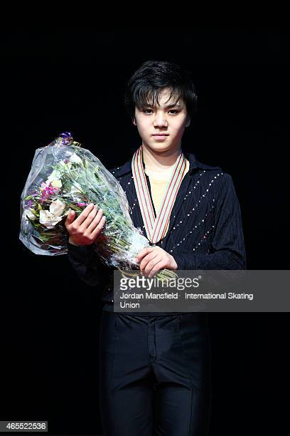 Shoma Uno of Japan poses for a picture after winning the Junior Men's Competition on Day 4 of the ISU World Junior Figure Skating Championships at...