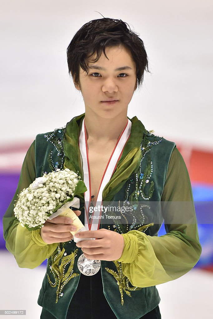 Shoma Uno (silver) of Japan poses with his medal during the day two of the 2015 Japan Figure Skating Championships at the Makomanai Ice Arena on December 26, 2015 in Sapporo, Japan.