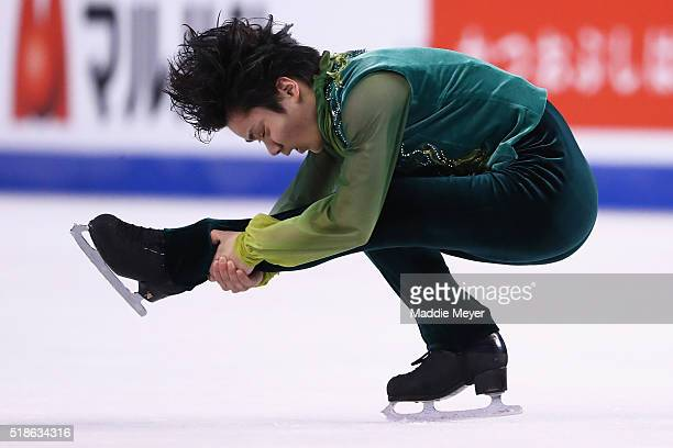 Shoma Uno of Japan skates in the Men's Free Skate program during Day 5 of the ISU World Figure Skating Championships 2016 at TD Garden on April 1...