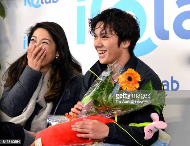 Shoma Uno of Japan smiles after competing in the Men's Singles Short Program during day one of the Lombardia Trophy at Memorial Anna Grandolfi on...