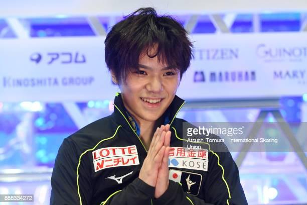 Shoma Uno of Japan smiles at the kiss and cry after the men free skating during the ISU Junior Senior Grand Prix of Figure Skating Final at Nippon...
