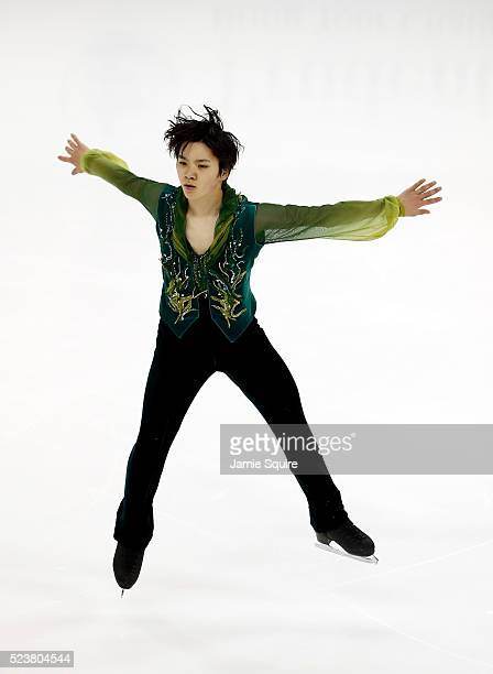 Shoma Uno of Team Asia competes in the Men's Free Program on day 2 of the 2016 KOSE Team Challenge Cup at Spokane Arena on April 23 2016 in Spokane...