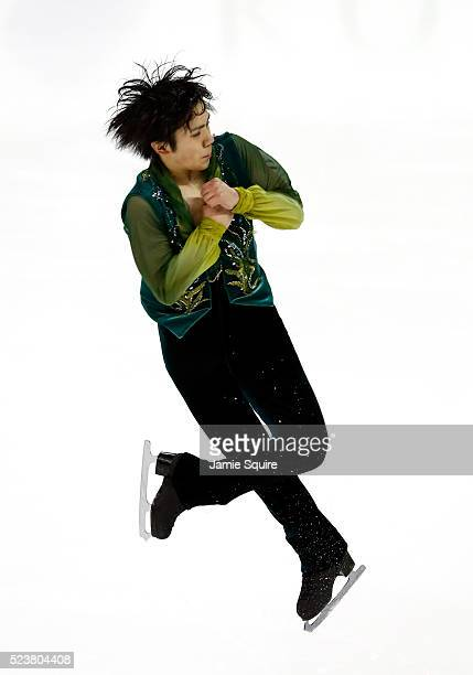 Shoma Uno of Team Asia successfully performs a quadruple flip during the Men's Free Program on day 2 of the 2016 KOSE Team Challenge Cup at Spokane...