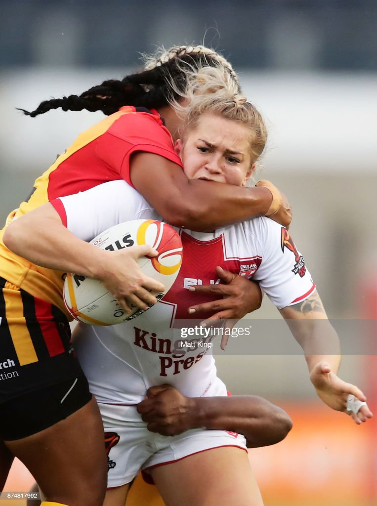 Shona Hoyle of England is tackled during the 2017 Women's Rugby League World Cup match between England and Papua New Guinea at Southern Cross Group Stadium on November 16, 2017 in Sydney, Australia.