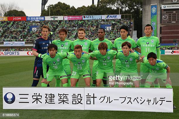 Shonan Bellmare players line up for the team photos prior to the JLeague match between Shonan Bellmare and Urawa Red Diamonds at the Shonan BMW...
