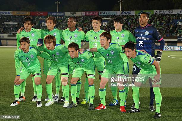 Shonan Bellmare players line up for the team photos prior to the JLeague Yamazaki Nabisco Cup match between Shonan Bellmare and Omiya Ardija at the...