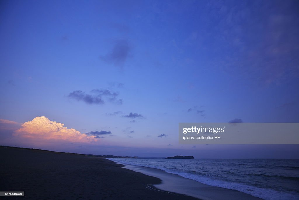 Shonan Seashore and Enoshima at Sunset : Stock Photo
