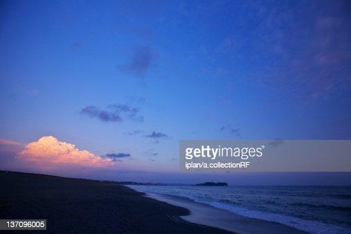 Shonan Seashore and Enoshima at Sunset : Stock Photo