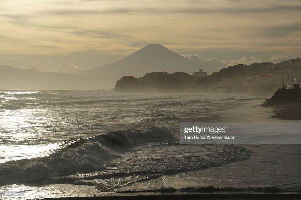 Shonan sunset Mt.Fuji : Stock Photo