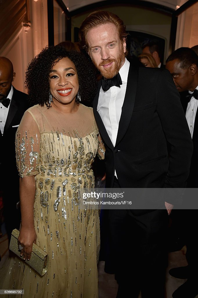 Shonda Rhimes and Actor Damian Lewis attend the Bloomberg & Vanity Fair cocktail reception following the 2015 WHCA Dinner at the residence of the French Ambassador on April 30, 2016 in Washington, DC.