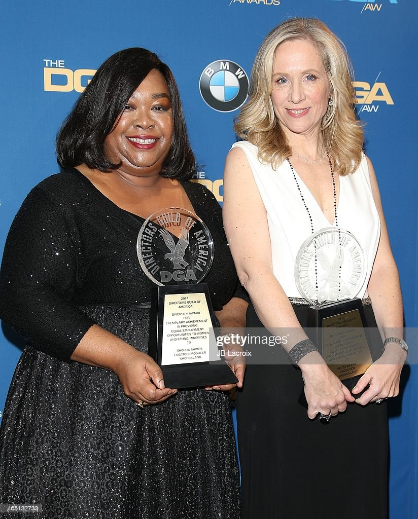 Shonda Rhimes and Allison Liddi-Brown attend the 66th Annual Directors Guild Of America Awards - Press Room held at the Hyatt Regency Century Plaza on January 25, 2014 in Century City, California.