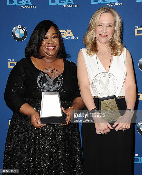 Shonda Rhimes and Betsy Beers pose in the press room at the 66th annual Directors Guild of America Awards at the Hyatt Regency Century Plaza on...