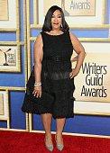 Shonda Rhimes attends the 2015 Writers Guild Awards LA Ceremony at the Hyatt Regency Century Plaza on February 14 2015 in Century City California