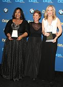Shonda Rhimes Betsy Beers and Allison LiddiBrown attend the 66th Annual Directors Guild Of America Awards Press Room held at the Hyatt Regency...
