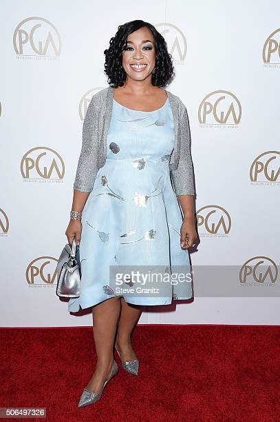 Shonda Rhimes recipient of the Norman Lear Achievement Award attends the 27th Annual Producers Guild Awards at the Hyatt Regency Century Plaza on...