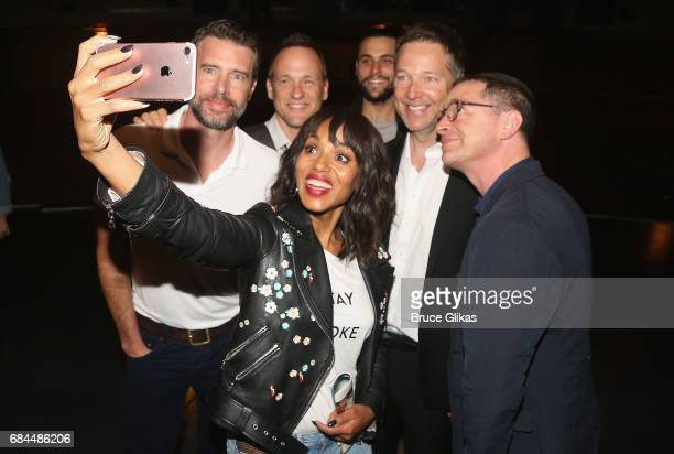 'ShondaLand' stars Scott Foley Tom Verica Kerry Washington Jack Falahee George Newbern and Josh Malina pose for a selfie backstage at the hit musical...