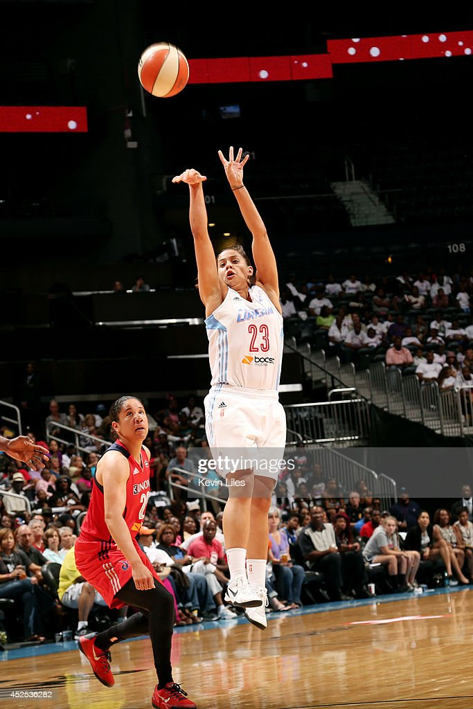 Shoni Schimmel #23 of the Atlanta Dreamshoots against the Washington Mystics at Philips Arena on July 5, 2014 in Atlanta, Georgia.