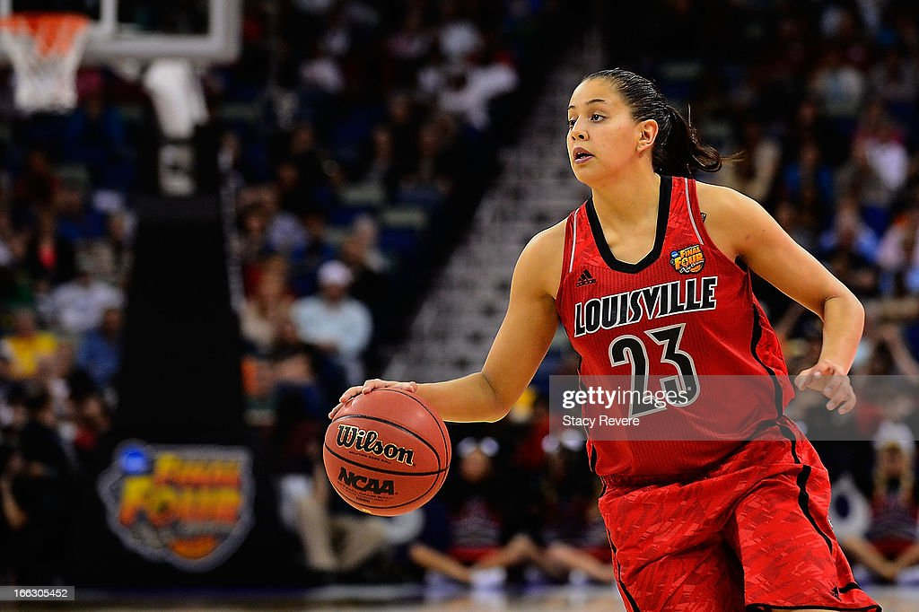 Shoni Schimmel #23 of the Louisville Cardinals looks for an open team mate against the Connecticut Huskies during the National Final game of the 2013 NCAA Division I Women's Basketball Championship at New Orleans Arena on April 9, 2013 in New Orleans, Louisiana.