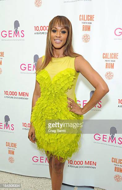 Shontelle Layne attends the GEMS Girls Like Us Benefit Gala hosted by Demi Moore And Rachel Lloyd at El Museo Del Barrio on October 17 2012 in New...
