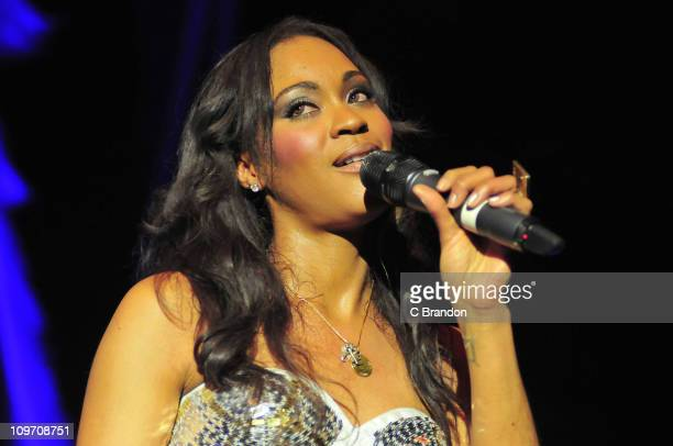 Shontelle performs on stage at Hammersmith Apollo on March 1 2011 in London England