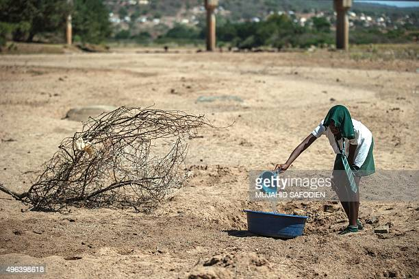 A shool girl tries to collect water from a dry puddle in Nongoma north west of Durban that has been badly affected by the recent drought near a free...