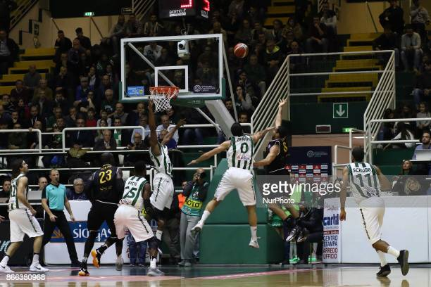 shoot baskeball of Elias Lasisi of Oostend during third day of Champions League match between Sidigas Avellino v Oostende at Palasport Giacomo Del...