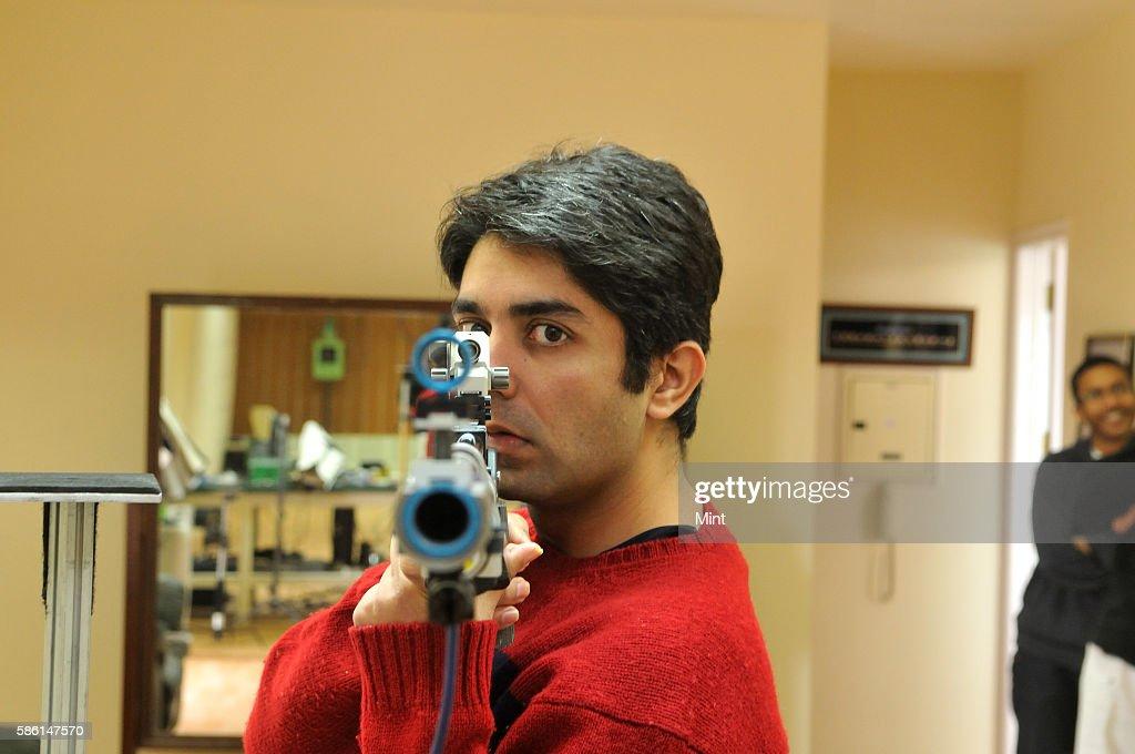 Shooter Abhinav Bindra training at his home on February 11 2012 in Chandigarh India