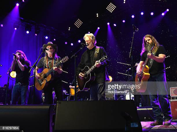 Shooter Jennings Willie Nelson Kris Kristofferson and Jamey Johnson perform at The Life Songs of Kris Kristofferson produced by Blackbird Presents at...