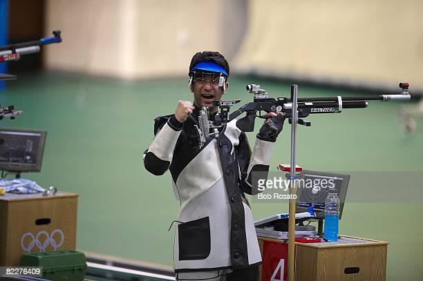 2008 Summer Olympics India Abhinav Bindra in action during Men's 10M Air Rifle Final at Beijing Shooting Range CTF Won Gold Medal Beijing China...
