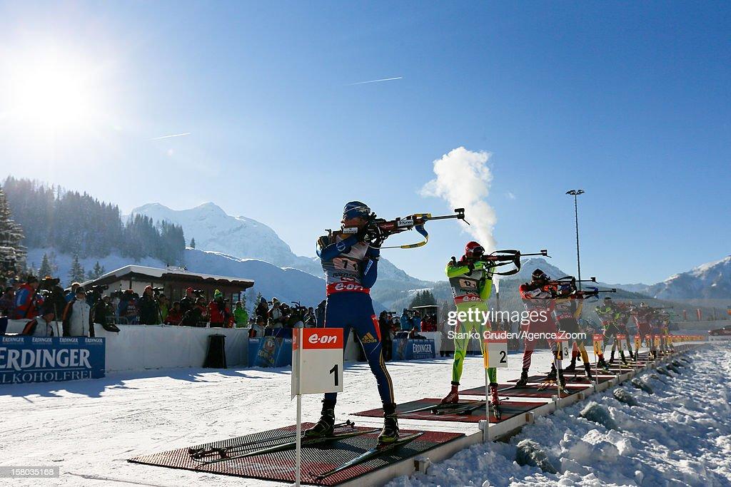 Shooting during the IBU Biathlon World Cup Men's Relay on December 09, 2012 in Hochfilzen, Austria.