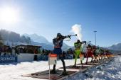 Shooting during the IBU Biathlon World Cup Men's Relay on December 09 2012 in Hochfilzen Austria