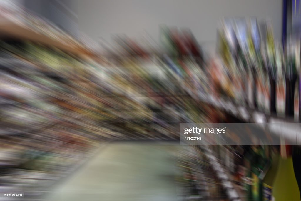 Shooting in the store on a moving camera : Stock Photo