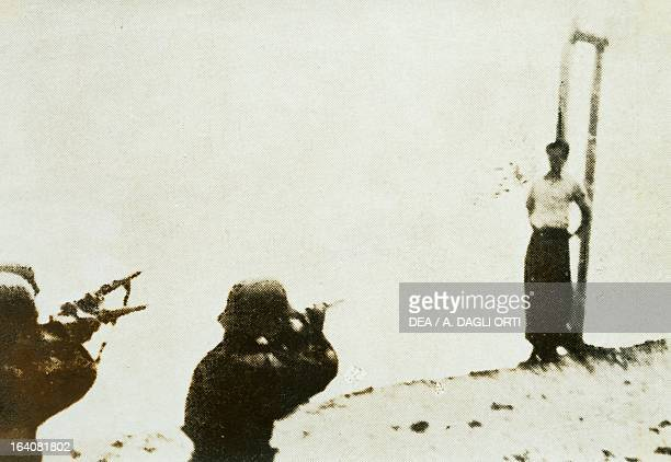 Shooting of a partisan captured by the Germans after raids in Monte Grappa World War II Resistance Italy 20th century Vicenza Museo Del Risorgimento...