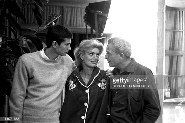 Shooting Of Film 'Phedre' Melina Mercouri Jules Dassin And Anthony Perkins In France In 1961